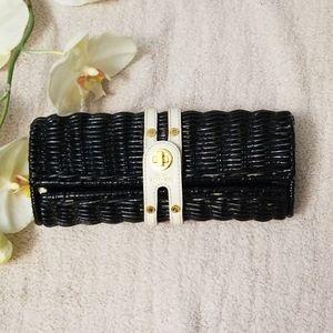 Kate Spade black lacquer wicker purse